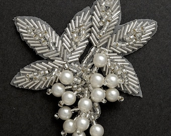 "Pearl Beaded Applique, Bridal Applique, 3-1/4""W x 3-1/2""H, FF-03"