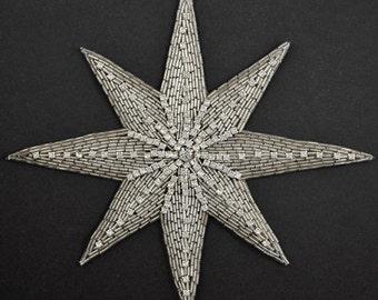 "Star Rhinestone Beaded Applique Patch, Bridal Applique, 8-3/4"" x 7-3/4'', FF-347"