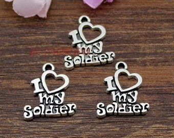 20pcs-- I Love My Soldier Charms, Antique Tibetan Silver Soldier charm pendants 20x17mm