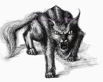 "Fine art A4 Fine-liner pen Drawing cat monster ""On the prowl"" ORIGINAL Artwork by Luna Amoris"