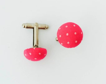 Hot Pink with White Polka Dot Fabric Button Cuff Links | Great Gift for Dad, Brother, Boyfriend.  Hand Made in the USA