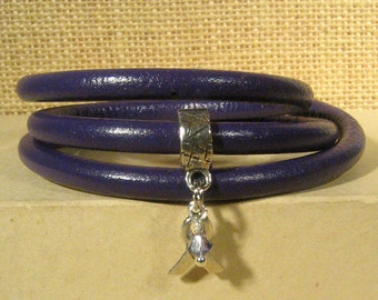 Lupus Awareness Bracelet - Purple 5mm Round Leather with Awareness Ribbon and Magnetic Clasp (5RA-095)