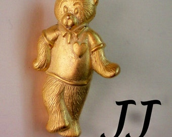 Signed Teddy Bear Tie Tack Pin by JJ - 2502