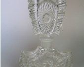 SALE Spectacular Vintage Large Perfume Scent Bottle Flacon Czech Cut Crystal Glass