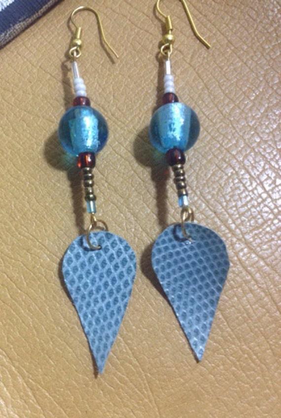 Sky Blue Snake Skin Dangle Earrings