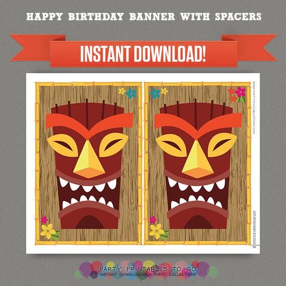 Luau / Hawaii Printable Birthday Banner With Spacers