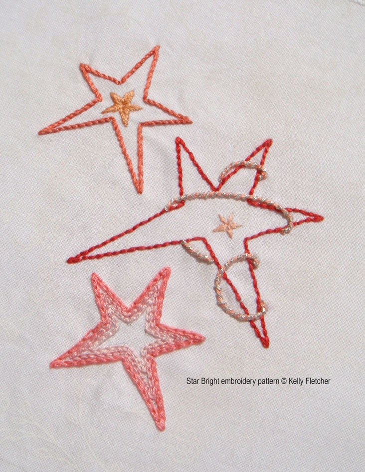 Star bright modern hand embroidery pattern