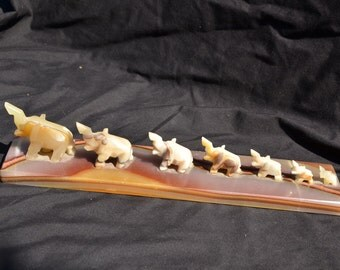 """6021x 7 Carved Agate Elephants with Base LARGE 11.88"""""""