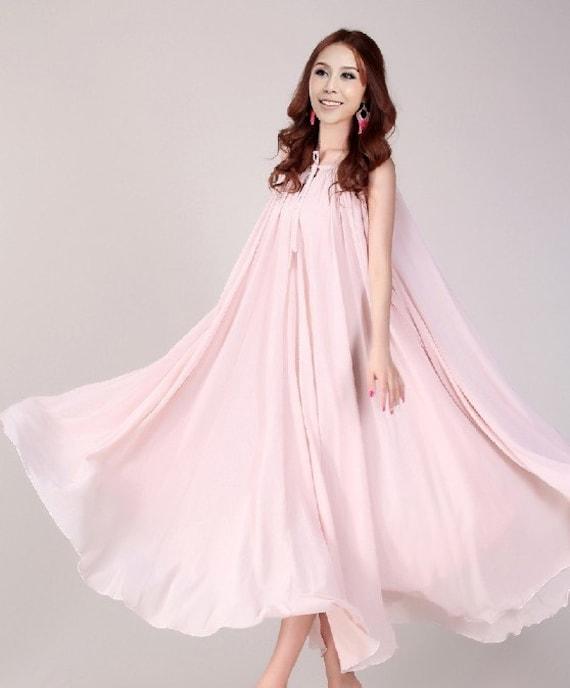 Nude Pink Wedding Dress Sundress Plus Size Summer Dress By LYDRESS