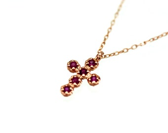 Cross Necklace Gold, Ruby Cross Necklace 14k Gold, Gold Cross Necklace Women, Ruby Cross Pendant, 14k Solid Gold Cross Necklace Natural Ruby