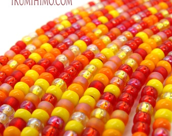 8/0 Round Beads in Monica's Fiesta Mix #4 Reds, Oranges and Yellows