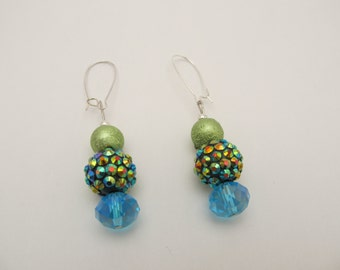Blue & Green Sparkle Earrings