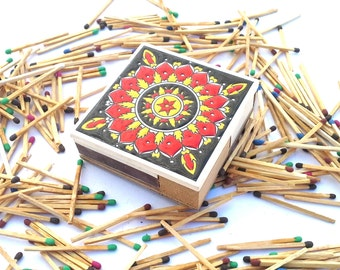 Vintage Ceramic Matchbox, Ceramic Match Holder, Vintage Mandala Matchbox, Mandala Home Decor, Match Holder, Vintage Matches, wooden Matchbox