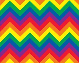Rainbow chevron craft  vinyl sheet - HTV or Adhesive Vinyl -  large chevron pattern vinyl   HTV227