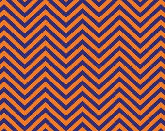Navy with orange chevron craft or adhesive  vinyl sheet - HTV or Adhesive Vinyl -  navy blue and orange zig zag pattern   HTV132
