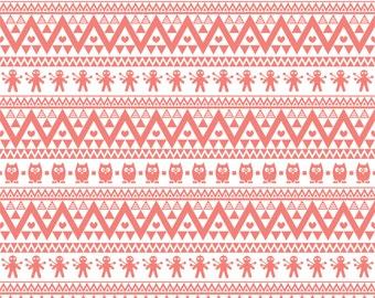 Coral  owl tribal pattern craft  vinyl sheet - HTV or Adhesive Vinyl -  Aztec Peruvian pattern HTV327