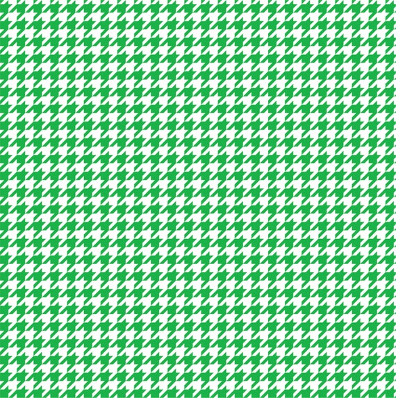 Green Houndstooth Patterned Vinyl Sheet Green And White