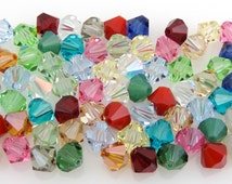 SWAROVSKI® Crystal 8mm Bicone Beads, Article #5301 Assorted Colors, FORTY(40) 8mm Bicone Crystal Beads,25 Cents Per Bead!