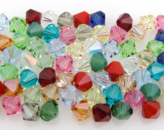 SWAROVSKI® Crystal 8mm Bicone Beads, Article #5301 Assorted Colors, THIRTY-TWO(32) 8mm Bicone Crystal Beads,30 Cents Per Bead!