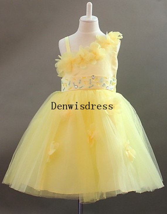Flower Girl Dresses Kids Yellow Tulle Satin Beaded Rustic Tutu Dresses Baby Dresses Toddler Birthday Dresses Wedding Dresses