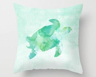 Sea Turtle Pillow Case, Nautical Home Decor, Beach Art, Nursery Art, Sea Turtle Pillow Cover, Decorative Pillow Case, Watercolor Turtle