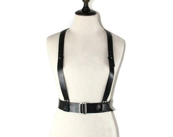 Black leather harness belt