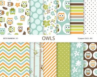 Owl digital paper pack, owl scrapbook paper, owls, owl paper, scrapbook supplies - BR 311