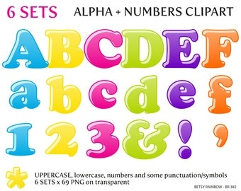 Bright letters and numbers, digital letters clipart PNG, ABC, alphabet clip art, number clipart, Instant download, BR 382