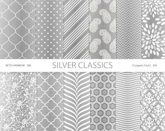 Silver Digital paper pack, Silver paper, Digital paper silver, grey - BR 388
