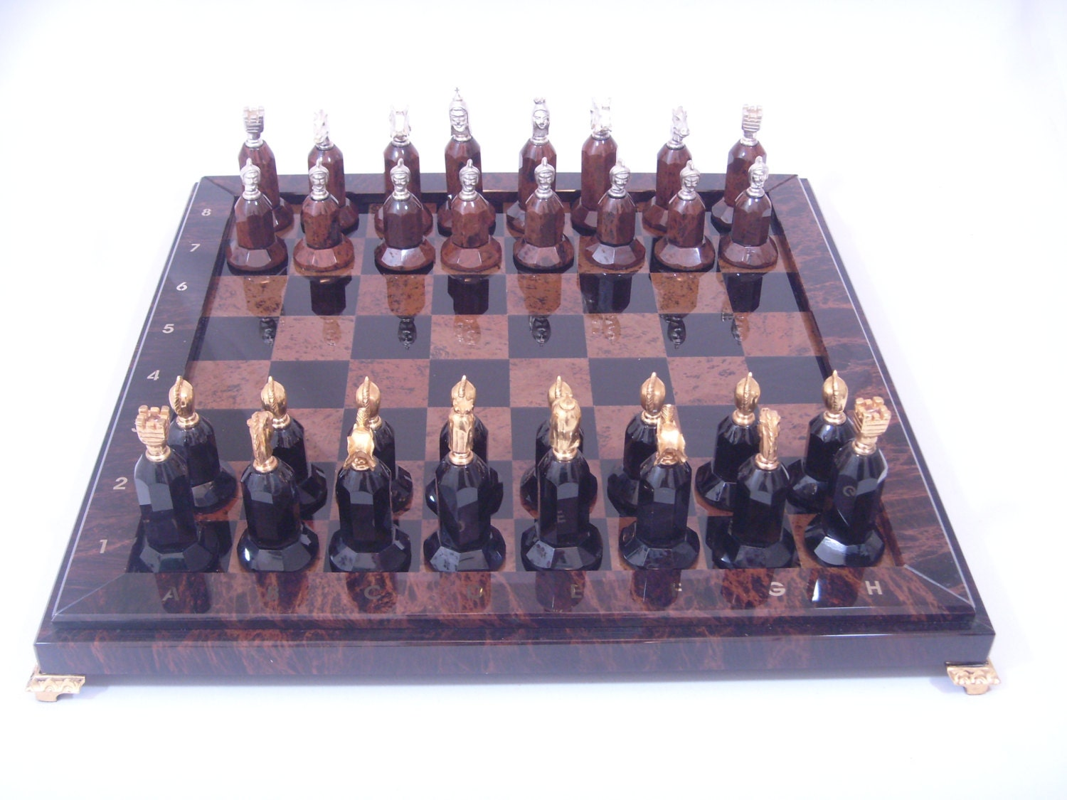 Antique stone chess obsidian stone chess set by thetigrangallery - Granite chess pieces ...