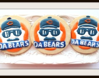 Custom Decorated Chicago Bears Sugar Cookies
