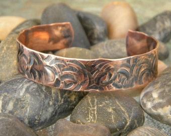 Copper Hammered Cuff Bracelet