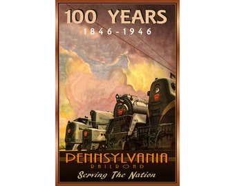 Pennsylvania Railroad New Retro 100 Year Train Art Poster-available in 3 sizes-Four Locomotives Diesel Steam Electric t-1 gg-1 f-3 Print 116