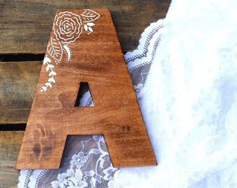 Hand painted floral pattern wood monogram wall decor, ANY LETTER, hand cut