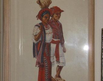 Pair of vintage Guatemala prints by Frederick Crocker Jr matching frames