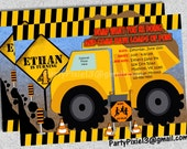 Construction Dump Truck Party Invitation and Decoration Package - Printable and customized with your party details. Digger. Digital File.