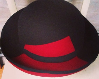Handmade contrast bowler hat - choice of colour, pattern and size