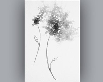 Downloadable artwork, Black and white flower art Download, Abstract flower painting Instant Digital Download
