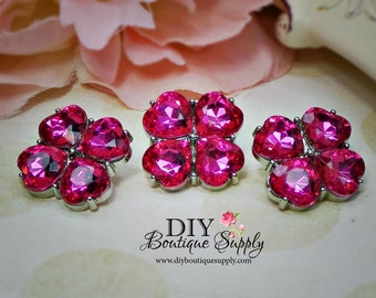 Hot PINK Crystal Buttons Rhinestone Buttons 23 mm Acrylic Rhinestone Embellishments Flower centers  Scrapbooking Headband Supplies 578035