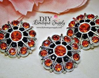 5 pcs HALLOWEEN Rhinestone Buttons Orange & Black Rhinestone Crystal Embellishments Acrylic Flower centers 24mm 673040