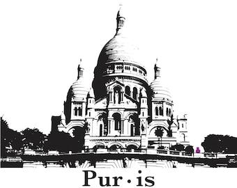 Cat print Paris France architecture sacre coeur graphic illustration wall art