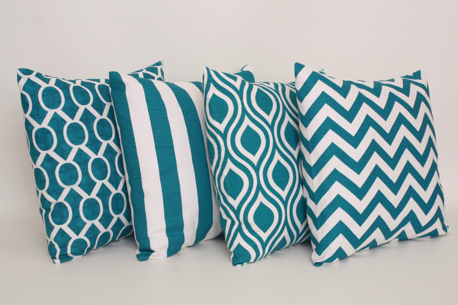 Teal Blue Throw Pillow : Set of 4 Throw Pillow Covers Teal Blue Blue by DimensionsHomeDecor