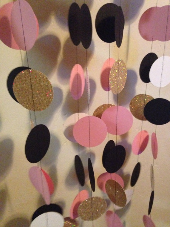 Items similar to Pink Black Gold Paper garland for