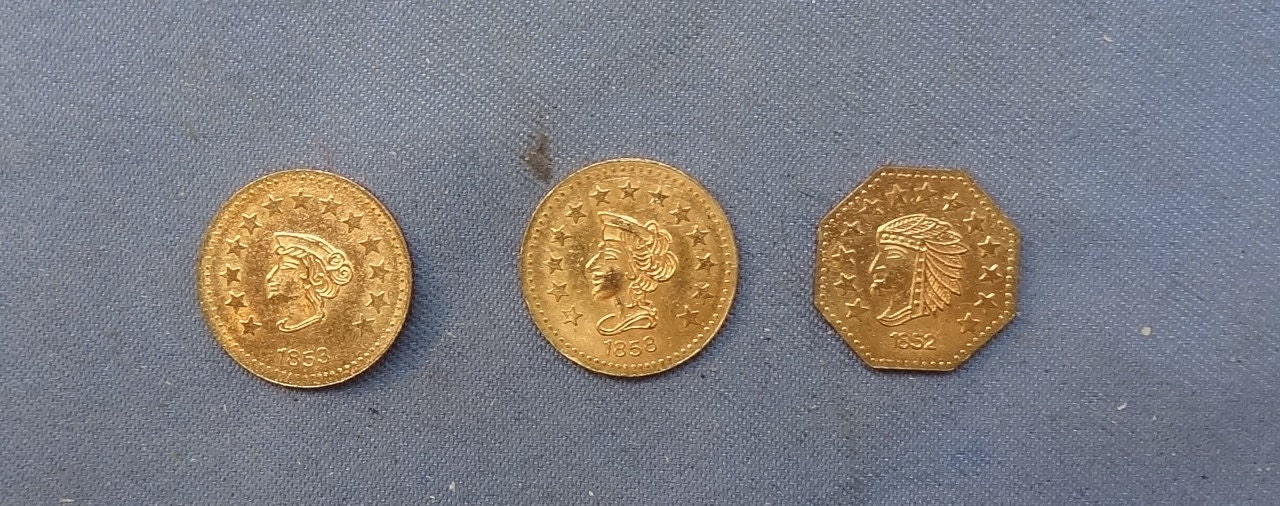 1852 1853 1858 1 2 Dollar California Antique Gold Coin Lot