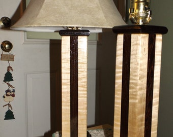 Curly Maple and Wenge Lamps