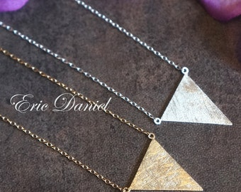Geometric Triangle Necklace, Sterling Silver or Yellow Gold, Brushed Finish, Geometric Jewelry, Geometric Necklace, Triangle