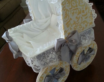The Graycie Yellow And Gray Baby Carriage Centerpiece / Baby Shower Decor