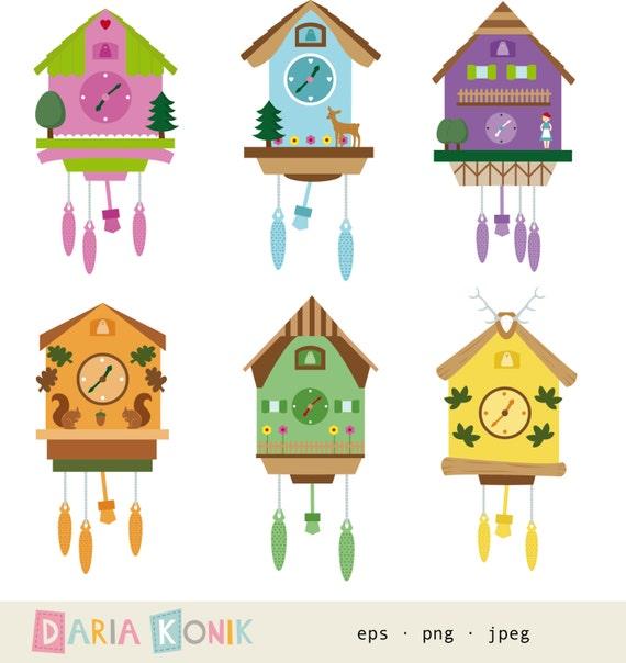 Cuckoo Clocks Clip Art Set-cuckoo clocks clipart by dariakonik