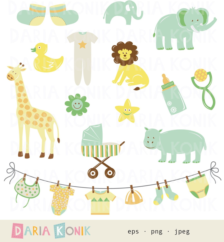 Gender Neutral New Baby Clip Art Set New Baby Cute Animals