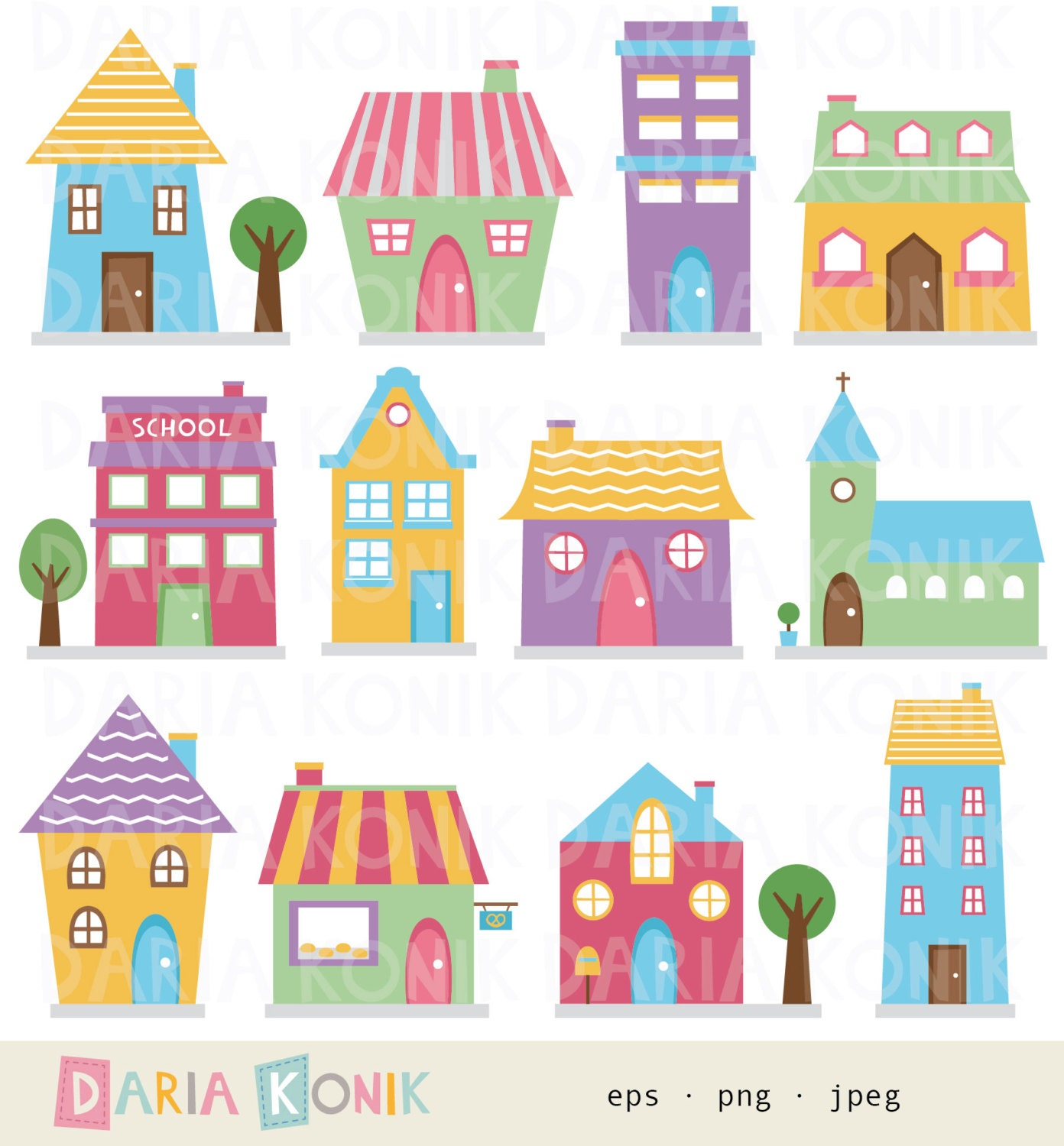 Houses clip art set houses clipart cute houses for Types of houses to build